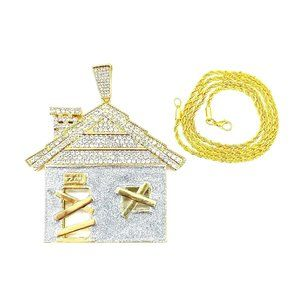 """Traphouse Pendant + 24"""" 3mm Rope Chain Necklace"""